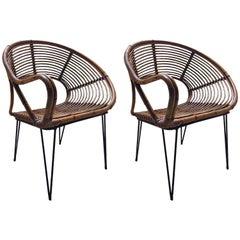 Beautiful Pair of Wicker Armchairs, Bonaccina, 1950 Design
