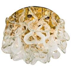 "Massive J.T. Kalmar ""Catena"" Murano Glass Flush Mount Chandelier, 1970s"