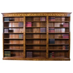 Bespoke Sheraton Revival Burr Walnut and Marquetry Open Bookcase