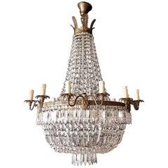 Empire Chandelier Crystal Sac a Pearl Lamp Lustre Art Nouveau, 1920