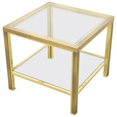 Belgo Chrome Two-Tier Square Coffee Table, 23-Karat Gold Plating