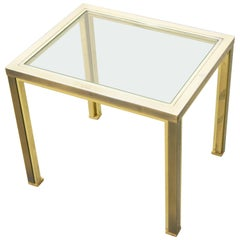 Belgo Chrome Side Table with Glass and 23-Karat Gold Plating