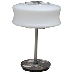 Valenti Table Lamp Murano Art Glass 1970s Steel White Glass