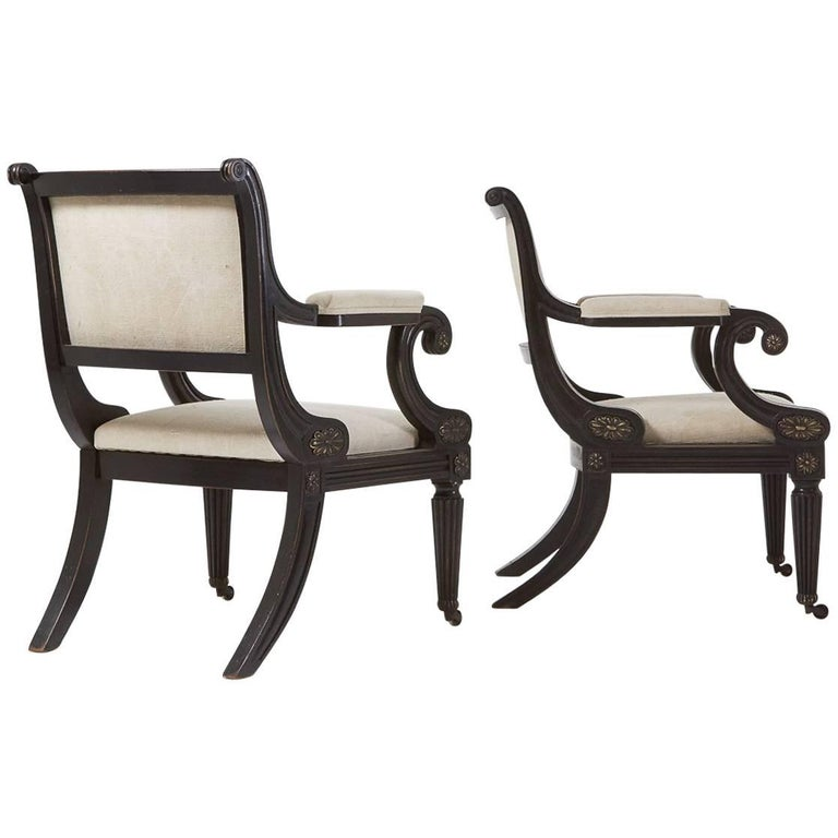 Regency Style Library Armchairs