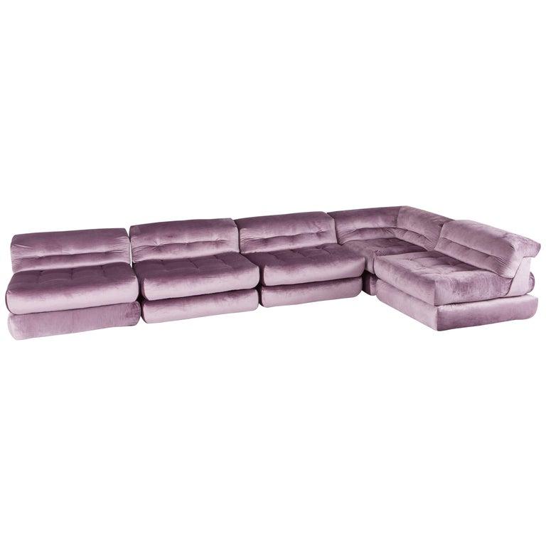 Mah Jong sectional Sofa in Purple Velvet by Roche Bobois For Sale