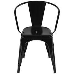 A56 Armchair in Matte Black by Jean Pauchard & Tolix