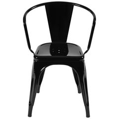 A56 Armchair in Glossy Black by Jean Pauchard & Tolix