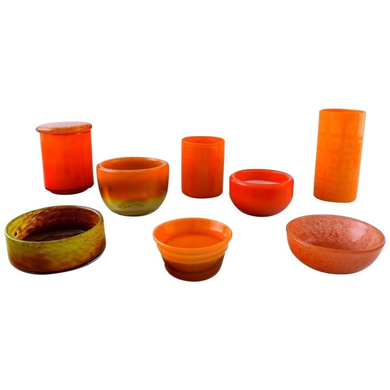 Alvar Aalto Iittala Two Art Glass Vases And Five Bowls In Various
