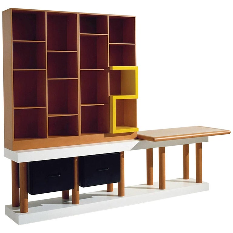 Ettore Sottsass, Bookcase, Out Production, Oak Design Edition, Italy For Sale