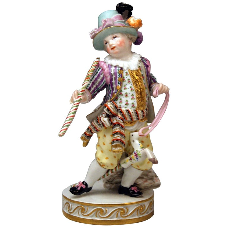 Meissen Boy Riding on Hobbyhorse by Christian Juechtzer Model E 94, circa 1860 For Sale