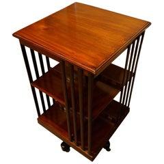Edwardian mahogany bookcase revolving on a base
