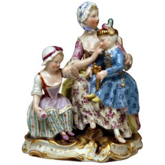 Meissen Mother Two Children Model 2379 by Johann Joachim Kaendler, circa 1870