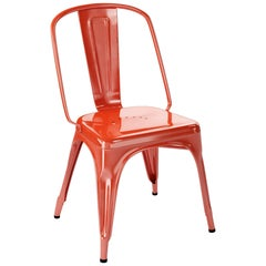AC Chair in Glossy Red-Orange by Xavier Pauchard & Tolix
