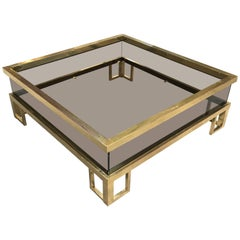 French Brass Coffee Table with Sliding Glass Top by Maison Jansen from 1970s