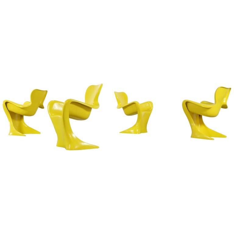 Luigi Colani, Set of Four Ultraorganic Lounge Chair, Yellow Fiberglass
