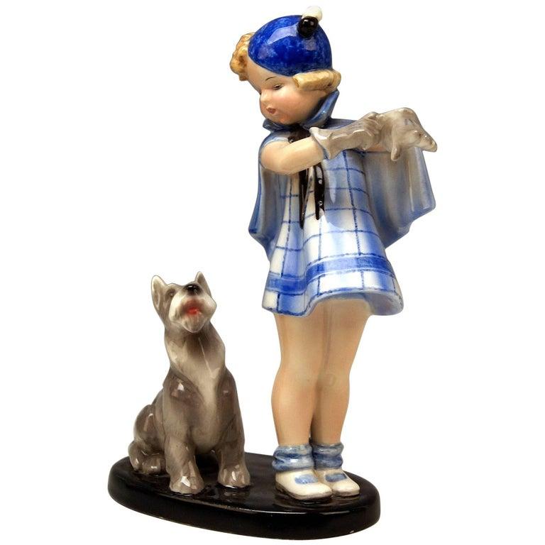 Goldscheider Vienna Girl and Dog Germaine Bouret Stephen Dakon Model 7664 For Sale