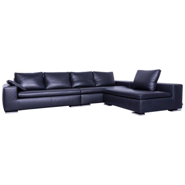 Minotti Powell Designer Leather Corner Sofa Black Full For