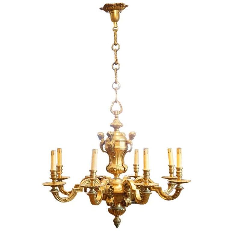 Edwardian Brass Eight-Light Chandelier