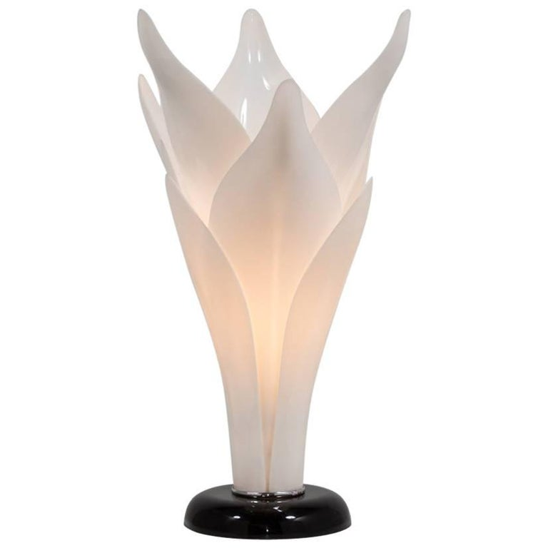 Single Tulip Shaped Acrylic Lamp Attributed to Rougier, Late 1970s