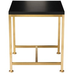 Contemporary Orichal Lamp Table in Oak or Walnut with Solid Brass Frame