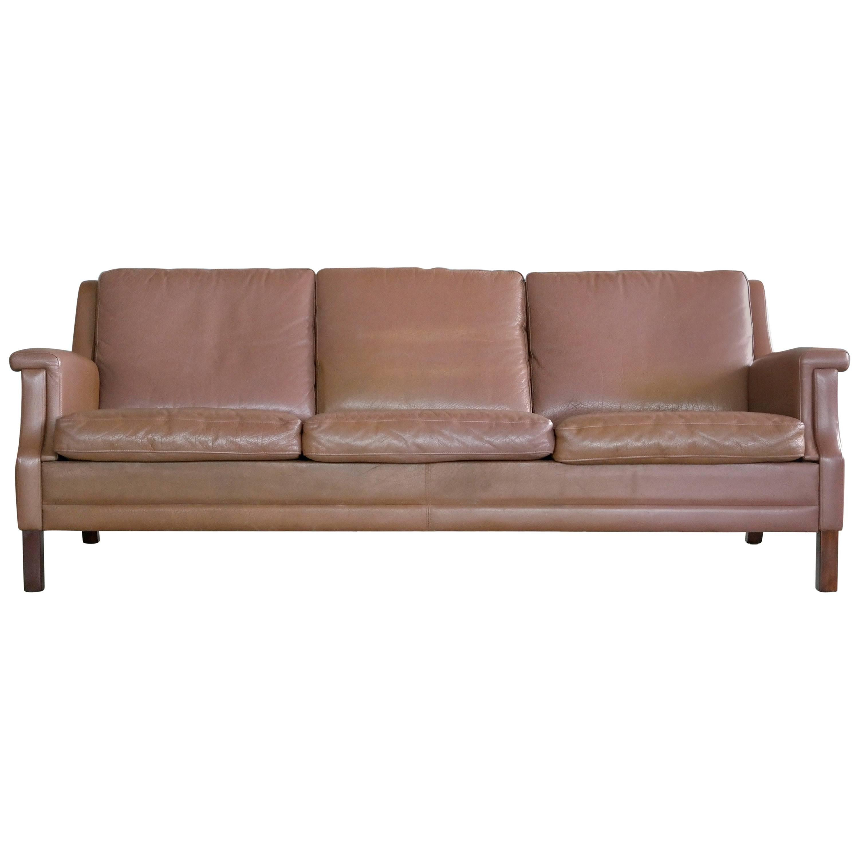 Classic Danish 1960s Sofa In Brown Buffalo Leather By Georg Thams For Sale