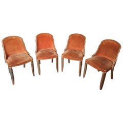 Unrestored French Art Deco Dining Chairs from 1920-1930