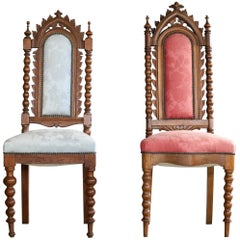 Danish Early 20th Century Neo-Gothic Style Side Chairs in Carved Polished Oak