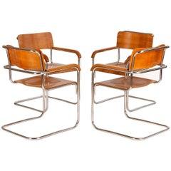Four Tubular Steel Chairs Czech Bauhaus, 1930