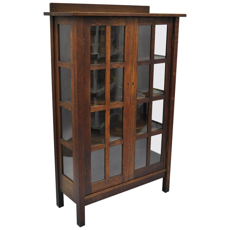 Gustav Stickley Mission Arts Crafts Oak Glass Door China Cabinet Curio Bookcase