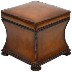 Antique William IV Studded Leather Ottoman Stool