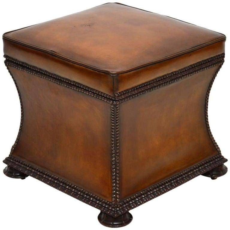 Antique William IV Studded Leather Ottoman Stool