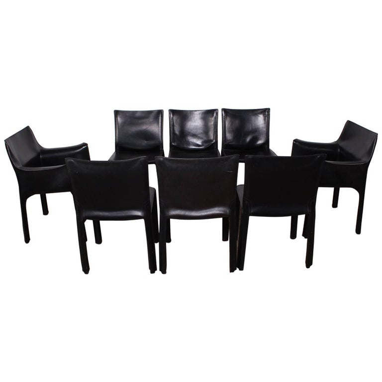 Set of Eight Cab Chairs by Mario Bellini for Cassina For Sale
