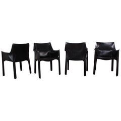 Set of Four Cab Armchairs by Mario Bellini for Cassina