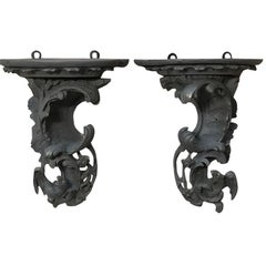 Pair of 18th Century Baroque Grey Painted Dragon Wall Sconces