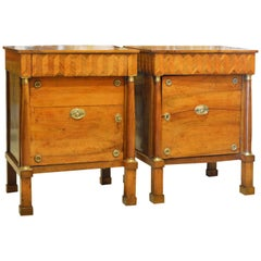 Pair of Early 19th Century Italian Neoclassical Parquetry Fruitwood Commodes
