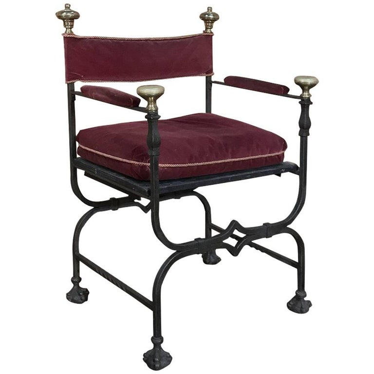 19th Century Hand Forged Wrought Iron and Bronze Faldistorio Armchair