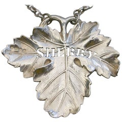 Victorian Cast Silver Regimental Vine Leaf Wine Label Sherry Benjamin Smith 1842