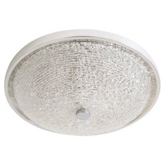 Large Textured Glass Flush Mount, 1960s