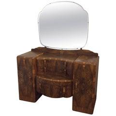 Art Deco Dressing Table in a Stunning Figured Walnut