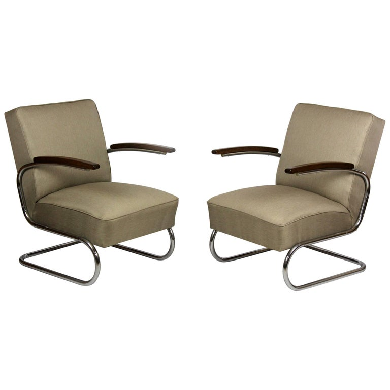 Cantilever S-411 Armchairs by W. H. Gispen for Mücke Melder, 1930s, Set of Two