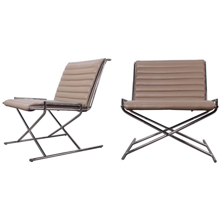 Pair of Ward Bennett Sled Chairs in Leather For Sale