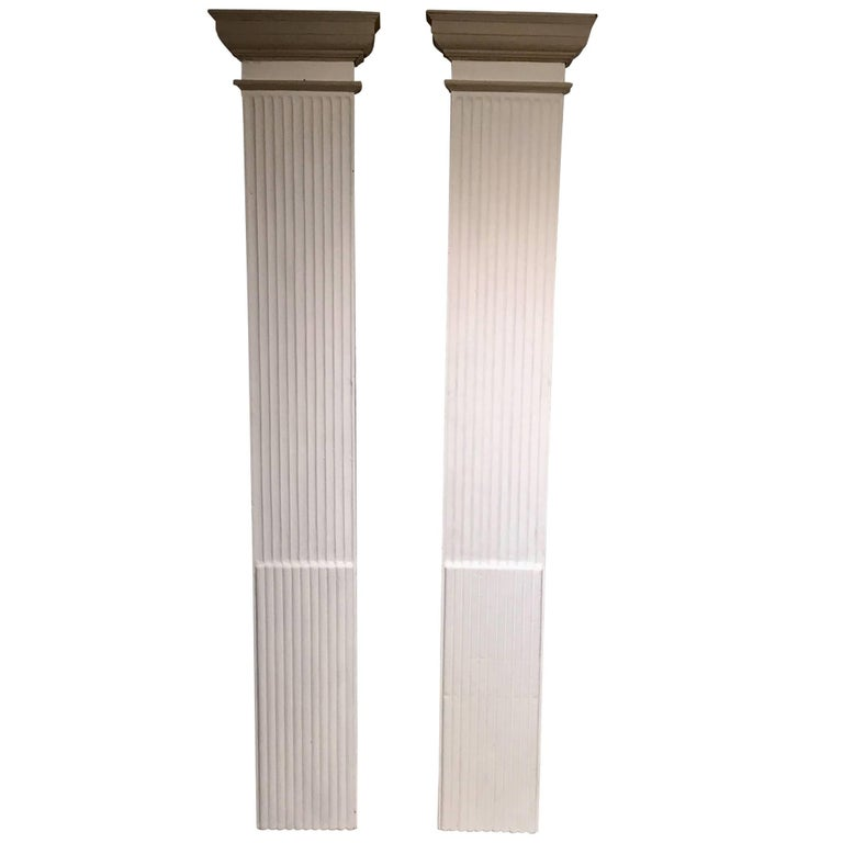 Pair of 19th Century Decorative Painted Wooden Columns