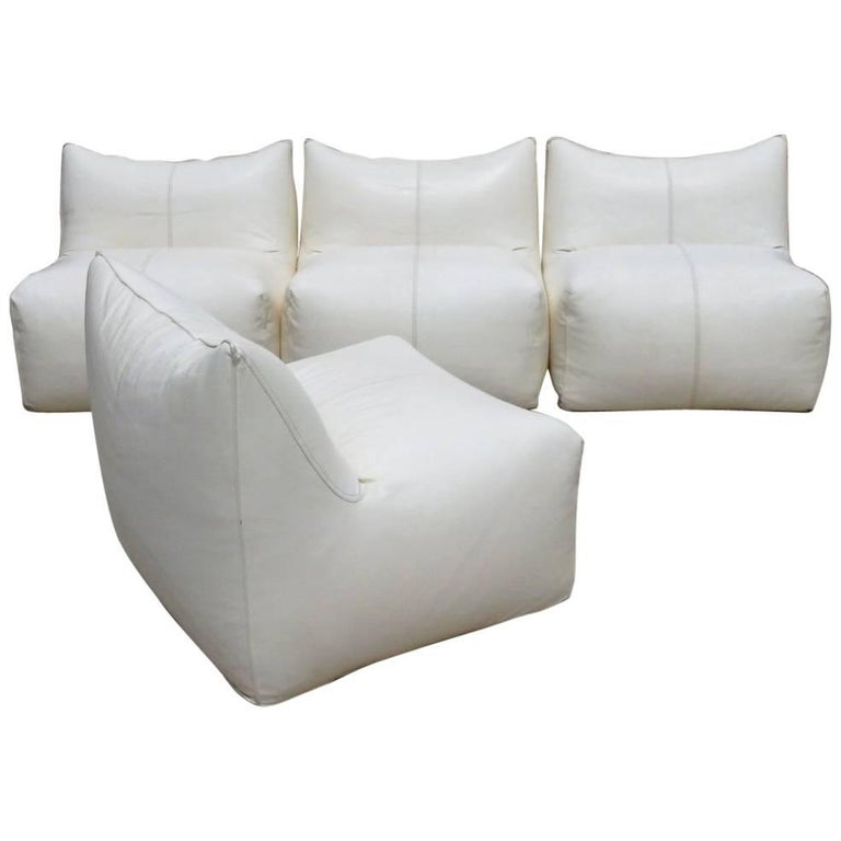 Seven Piece Mario Bellini B&B Italia White Leather Le Bambole Sectional For Sale