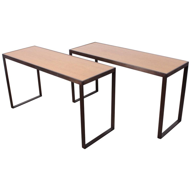 Bronze and Oak Console Table by Dunbar
