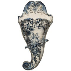 Antique Faience Wall Cornet from the Netherlands, circa 1850