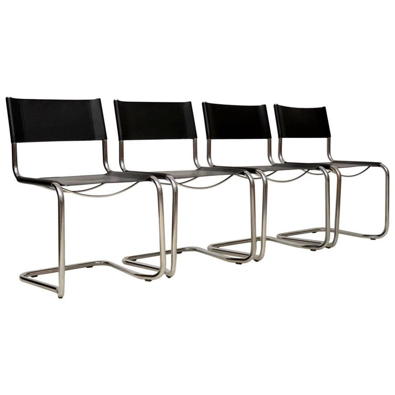 1970s Vintage Leather and Chrome Dining Chairs by Mart Stam