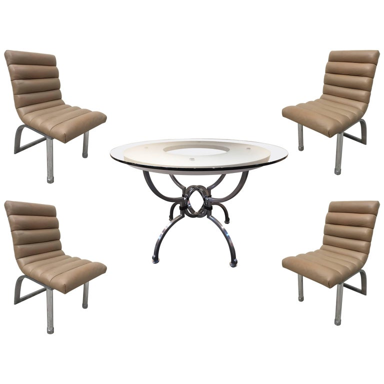 Jay Spectre Eclipse Dining Set Table with Four Leather Chairs