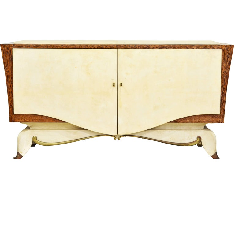 French Parchment and Macassar Art Deco Sideboard or Dresser by Claude O. Merson For Sale