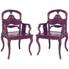 Pair of English Regency Style Rosewood Carved Armchairs