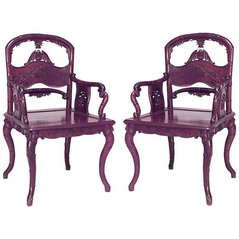 Pair of English Regency Style '19th-20th Century' Rosewood Carved Armchairs